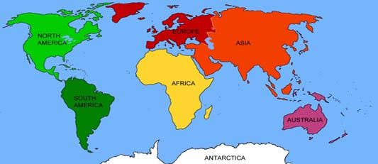 Continent,World Map,World Travel Tourism